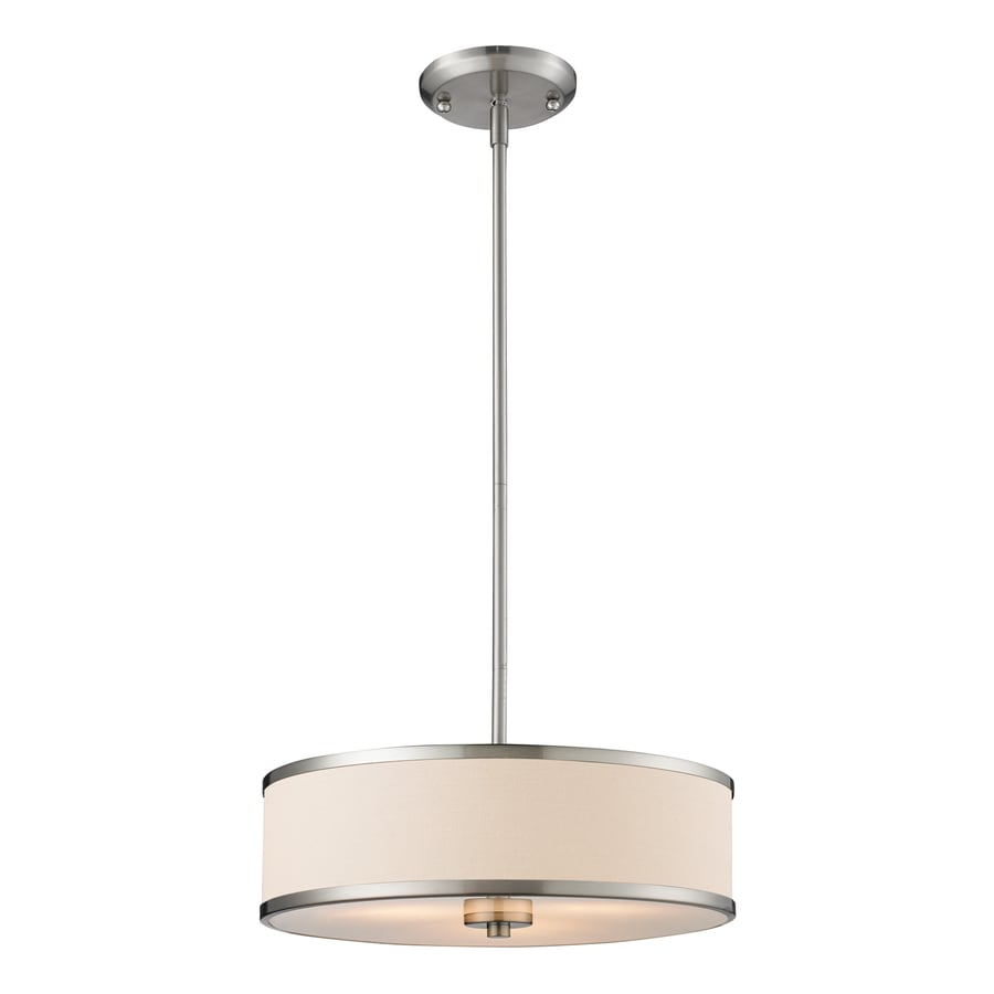 Z-Lite Cameo 15.63-in Brushed Nickel Industrial Single Drum Pendant