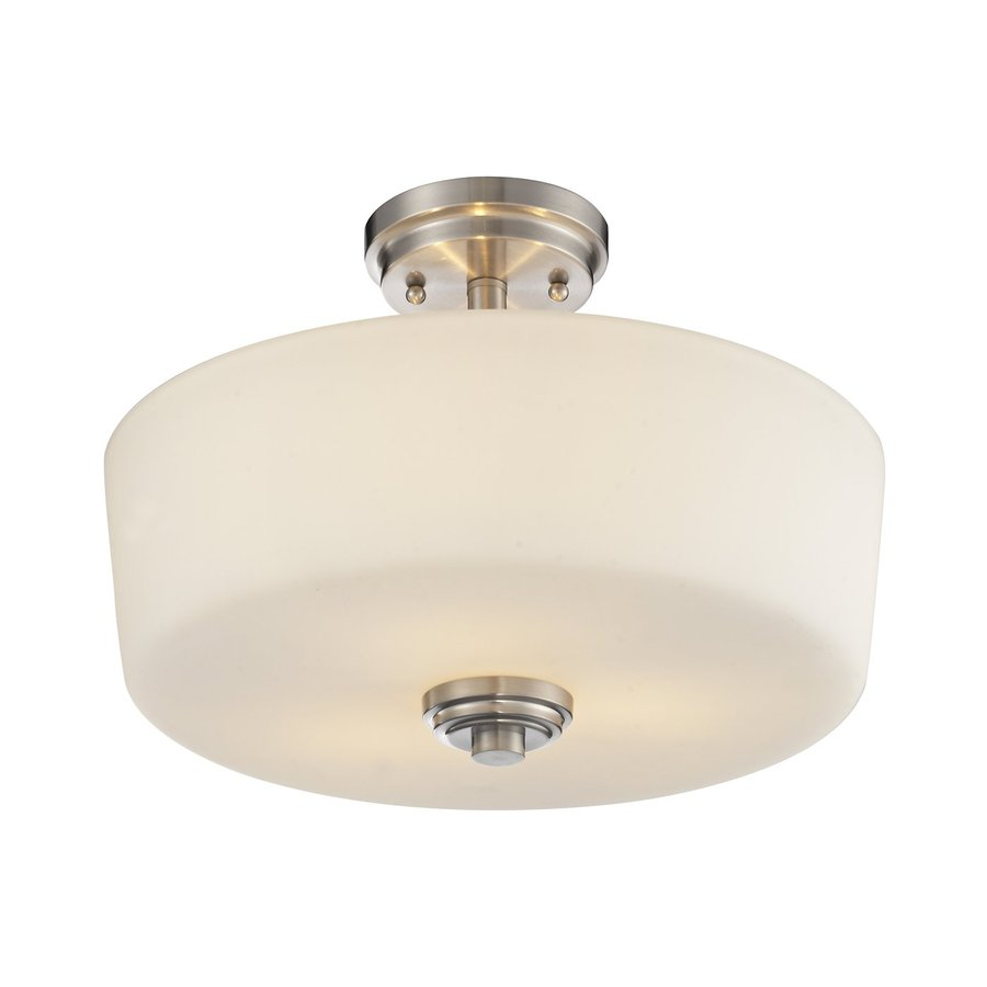 Z-Lite Lamina 14.38-in W Brushed Nickel Opalescent Glass Semi-Flush Mount Light