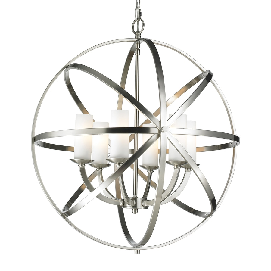 Z-Lite Aranya 23.82-in 6-Light Brushed nickel Cage Chandelier