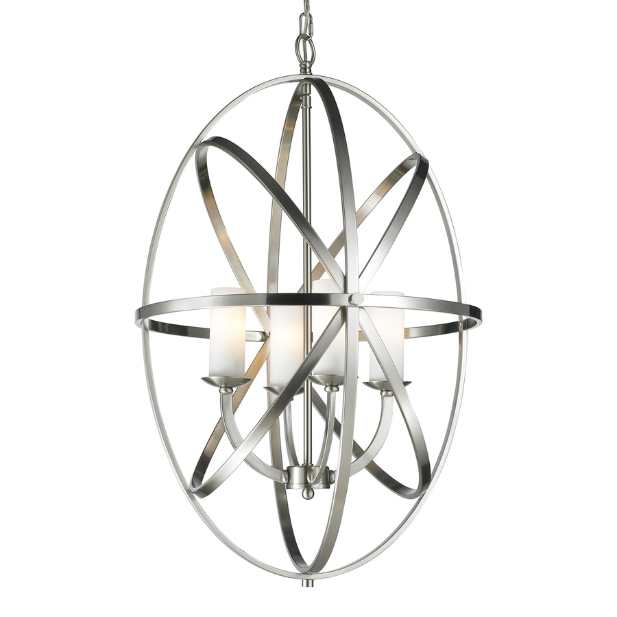 Z-Lite Aranya 19.69-in 4-Light Brushed nickel Cage Chandelier