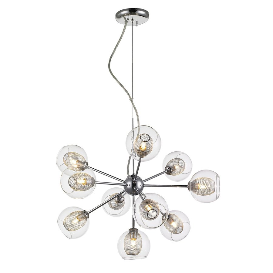 Z-Lite Agai 22.5-in 10-Light Chrome Industrial Clear Glass Abstract Chandelier