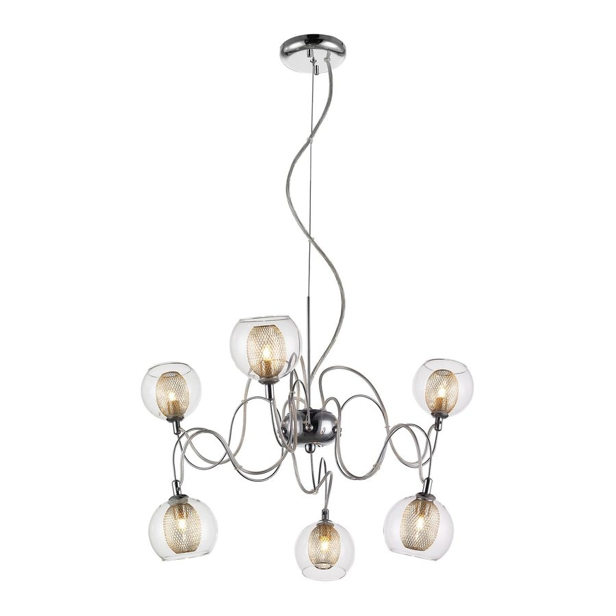 Z-Lite Agai 24-in 6-Light Chrome Industrial Clear Glass Abstract Chandelier