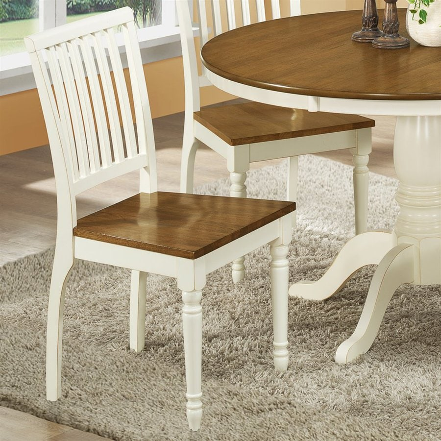 Monarch Specialties Set of 2 Antique White/Oak Side Chairs
