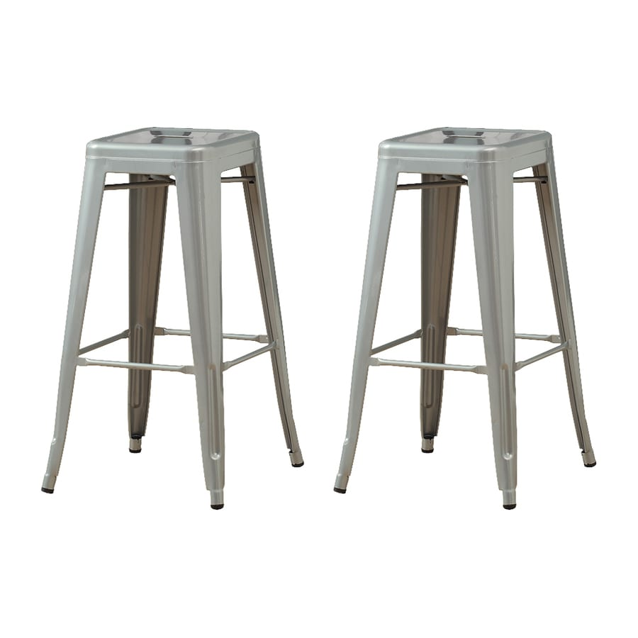 Monarch Specialties Set of 2 Silver 30-in Bar Stool