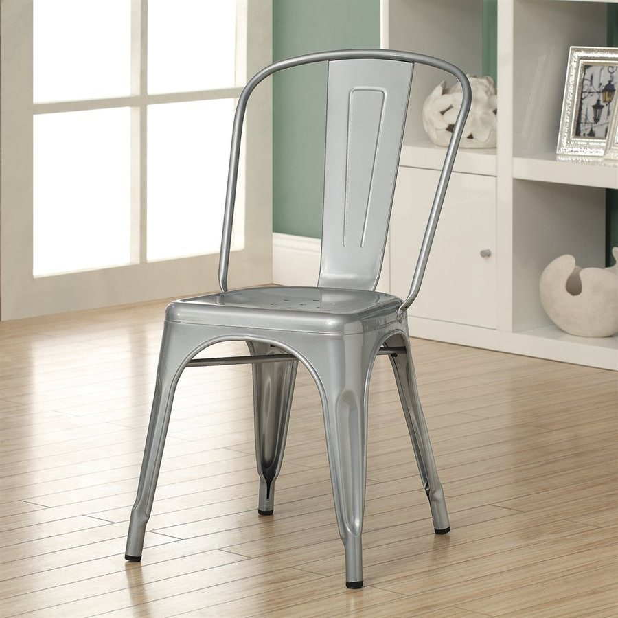 Monarch Specialties Set of 2 Contemporary Silver Side Chairs
