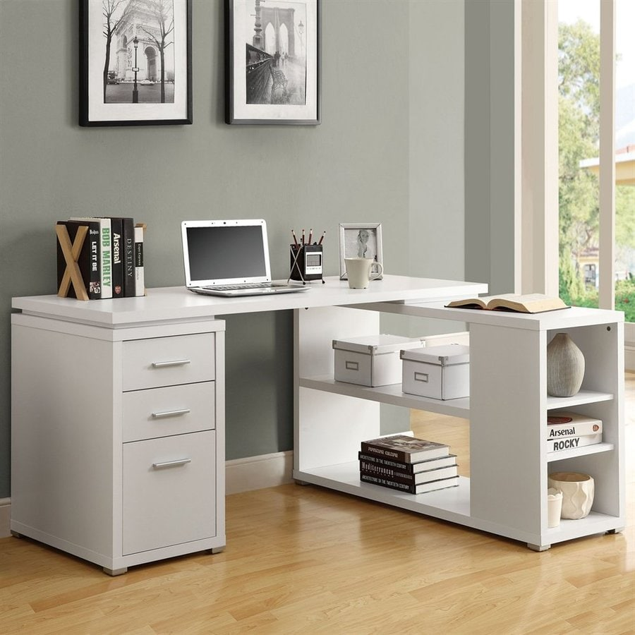 Monarch Specialties Contemporary White L Shaped Desk