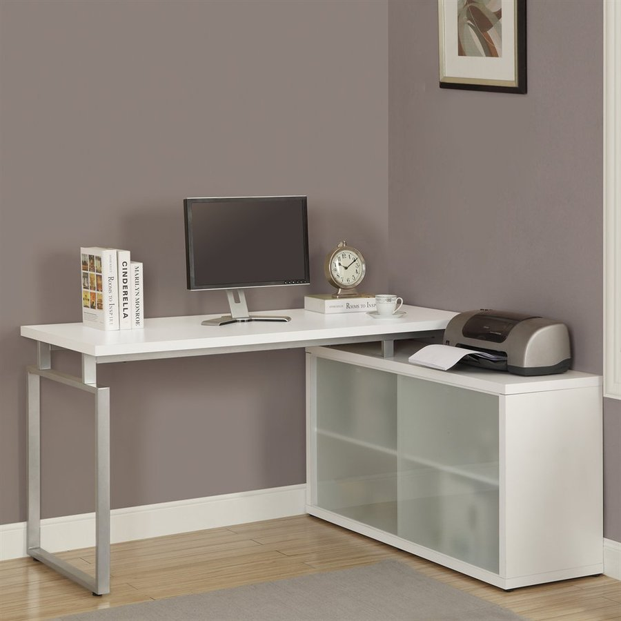 Monarch Specialties White L-Shaped Desk