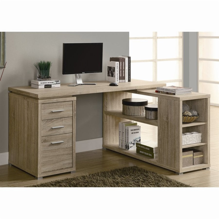 Monarch Specialties Contemporary Natural Reclaimed L Shaped Desk