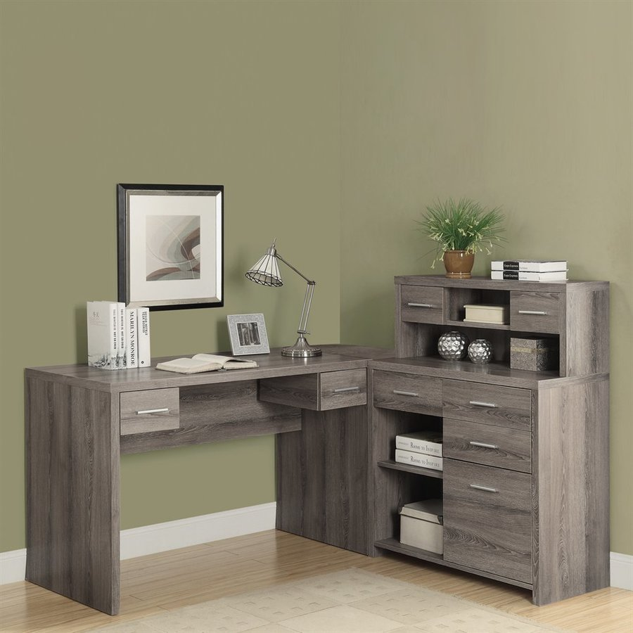 Monarch Specialties Contemporary Dark Taupe L Shaped Desk