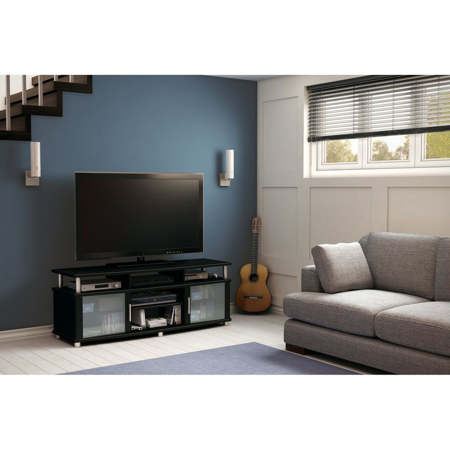 South Shore Furniture City Life Pure Black Rectangular TV Cabinet