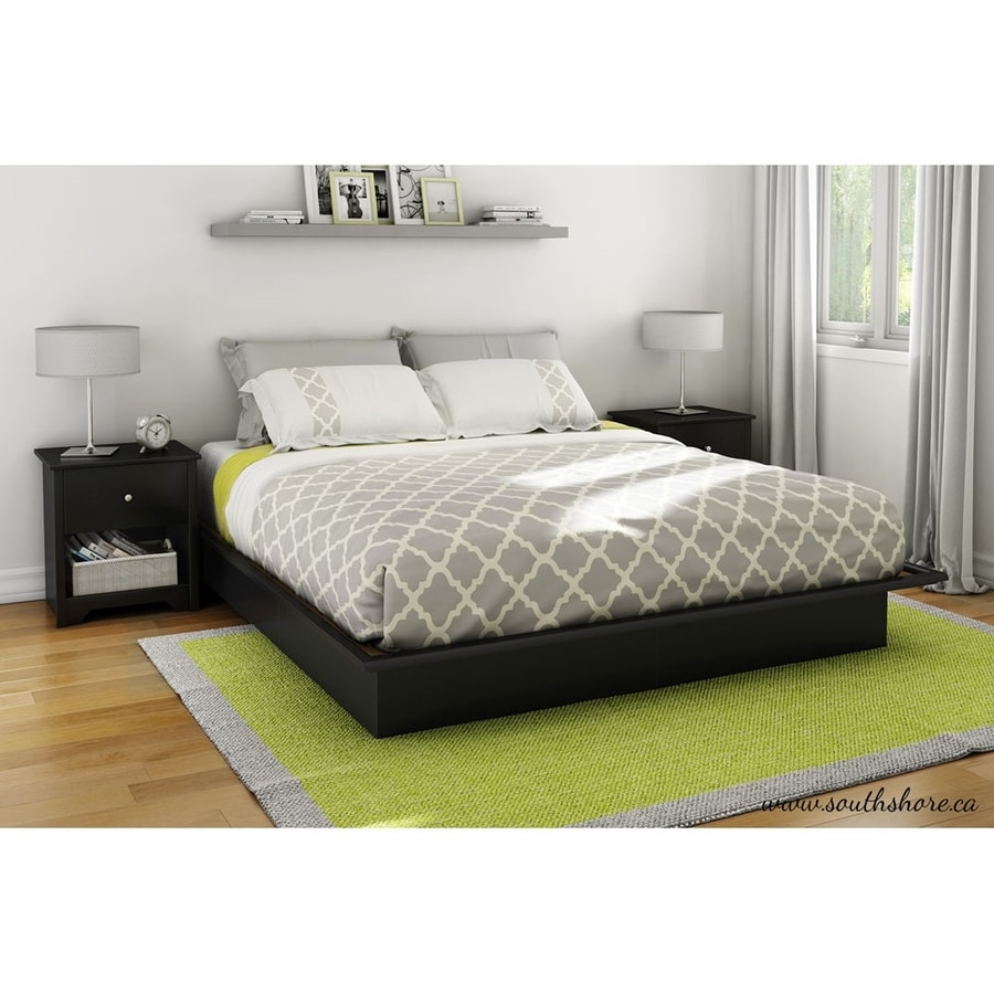 South Shore Furniture Step One Pure Black King Platform Bed With Storage