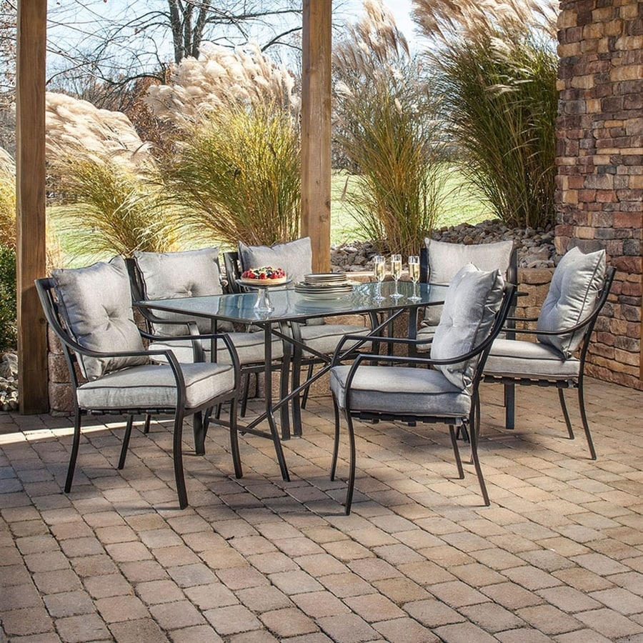 Shop hanover outdoor furniture lavallette 7 piece minuit for Glass dining set