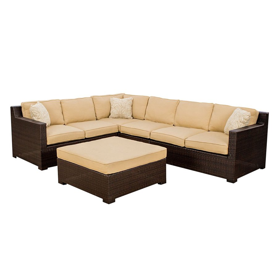 Shop hanover outdoor furniture metropolitan 5 piece wicker for Outdoor patio couch set