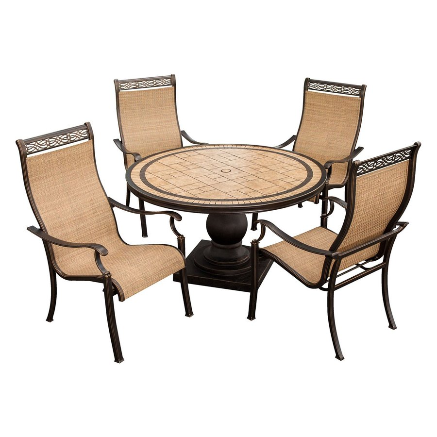 Shop hanover outdoor furniture monaco 5 piece tan metal for Balcony furniture set