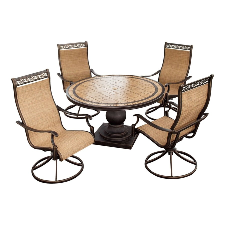 Hanover Outdoor Furniture Monaco 5-Piece Bronze Stone Patio Dining Set
