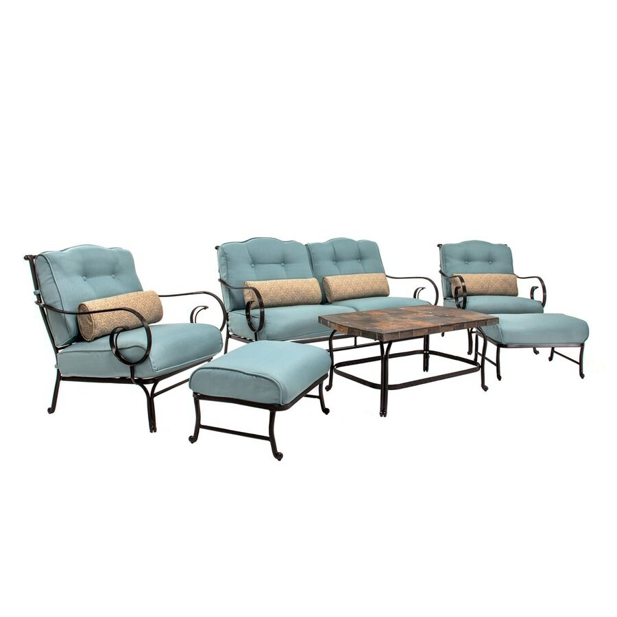 Hanover Outdoor Furniture Oceana 6-Piece Steel Frame Patio Conversation Set  with Nepal Blue Cushions - Hanover Outdoor Furniture Oceana 6-Piece Steel Frame Patio