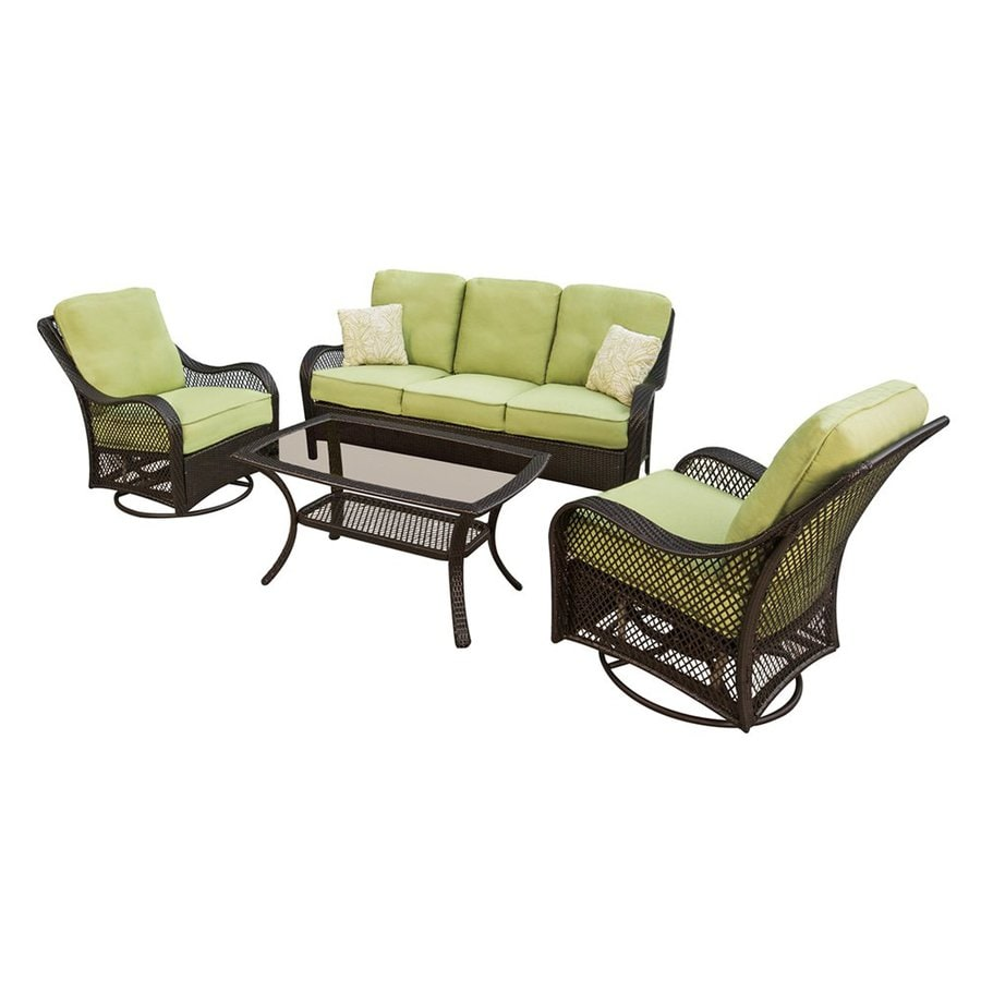 Shop hanover outdoor furniture orleans 4 piece wicker for Outdoor patio couch set