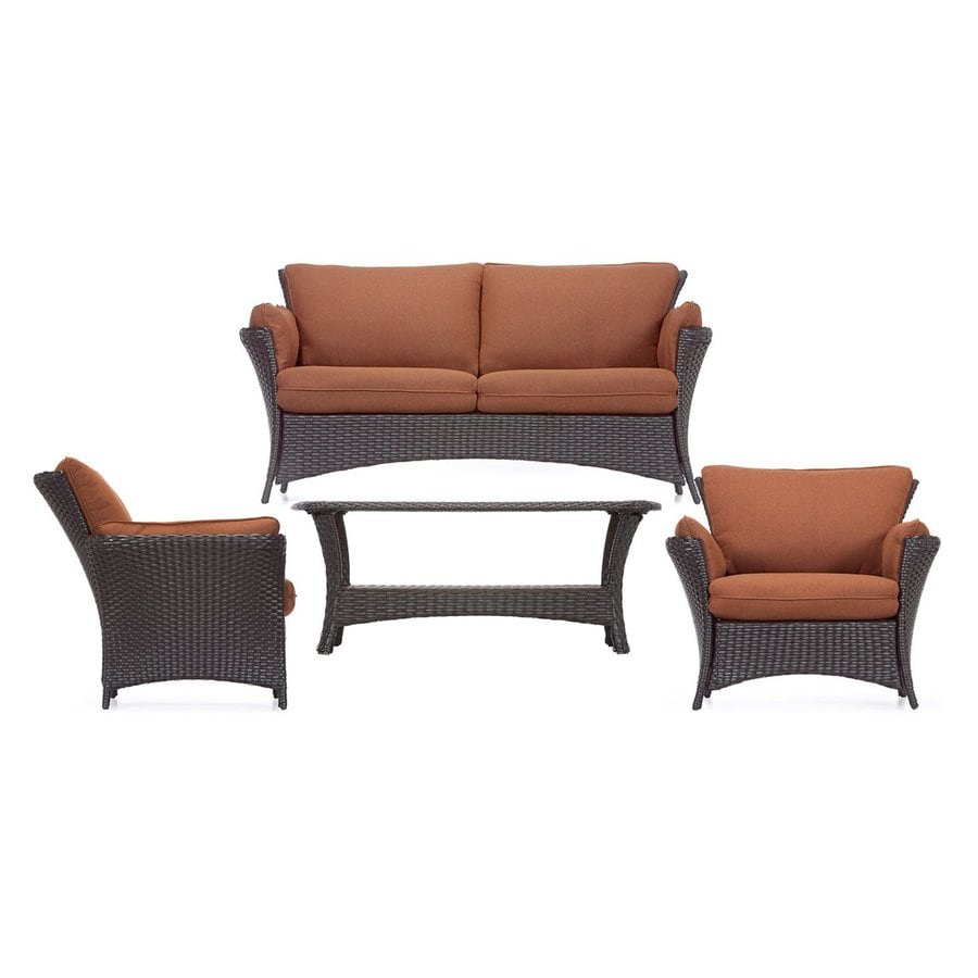 Shop hanover outdoor furniture strathmere 4 piece wicker for Porch furniture