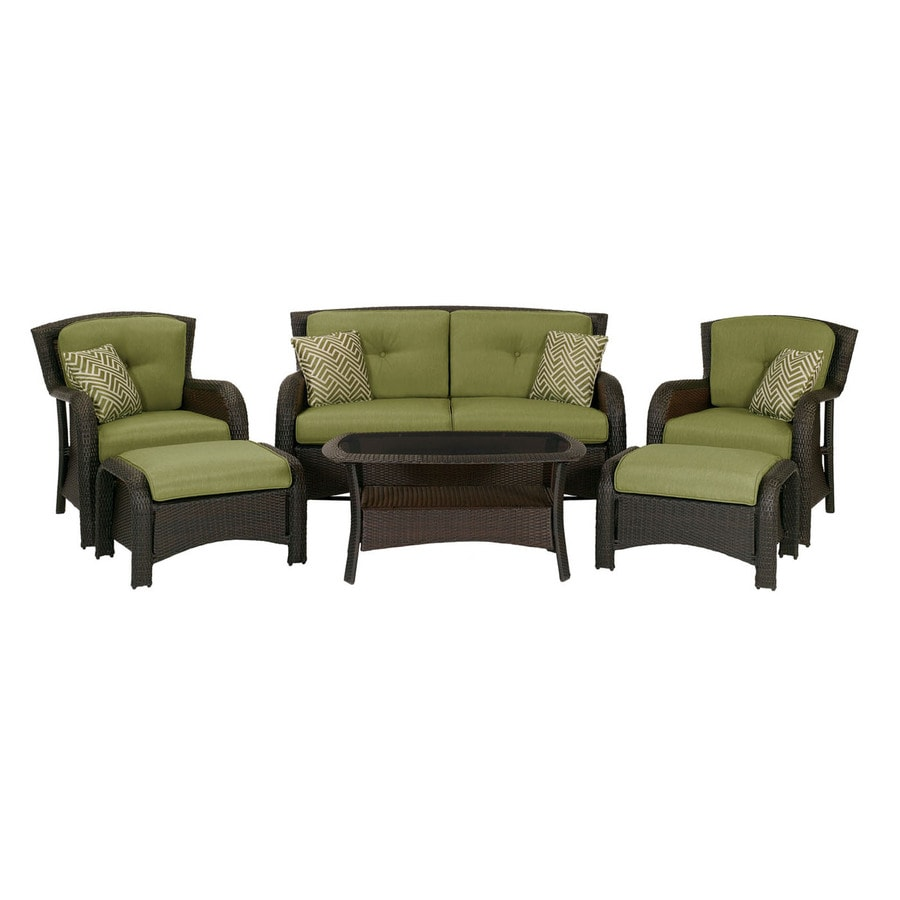 Hanover Outdoor Furniture Strathmere 6 Piece Wicker Frame Patio Conversation Set With Smokey Cilantro Cushions