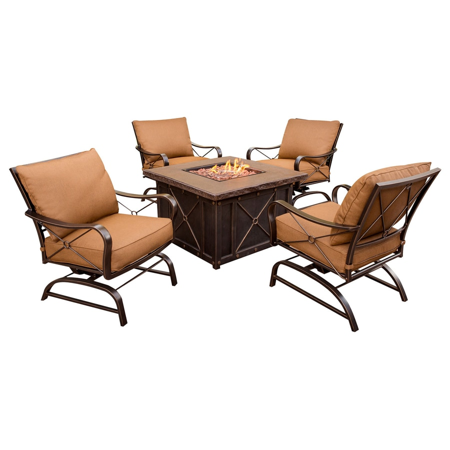 Shop Hanover Outdoor Furniture Summer Night 5 Piece Aluminum Patio Conversation Set At