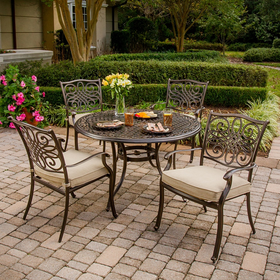 Shop hanover outdoor furniture traditions 5 piece bronze for Outdoor patio table set
