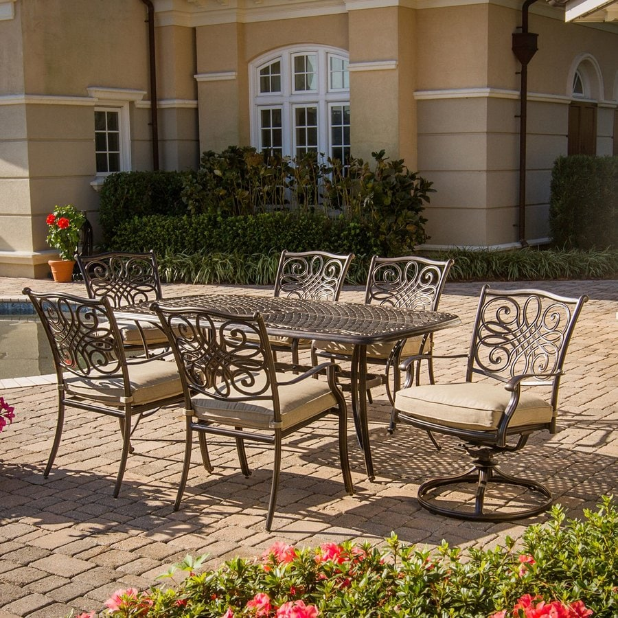 Hanover Outdoor Furniture Traditions 7 Piece Bronze Metal Frame Patio  Dining Set With Natural Oat
