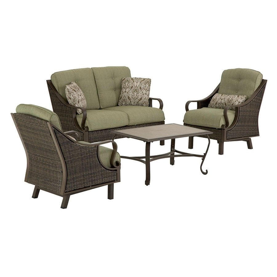 hanover outdoor furniture ventura 4 piece wicker frame patio conversation set with vintage meadow cushions