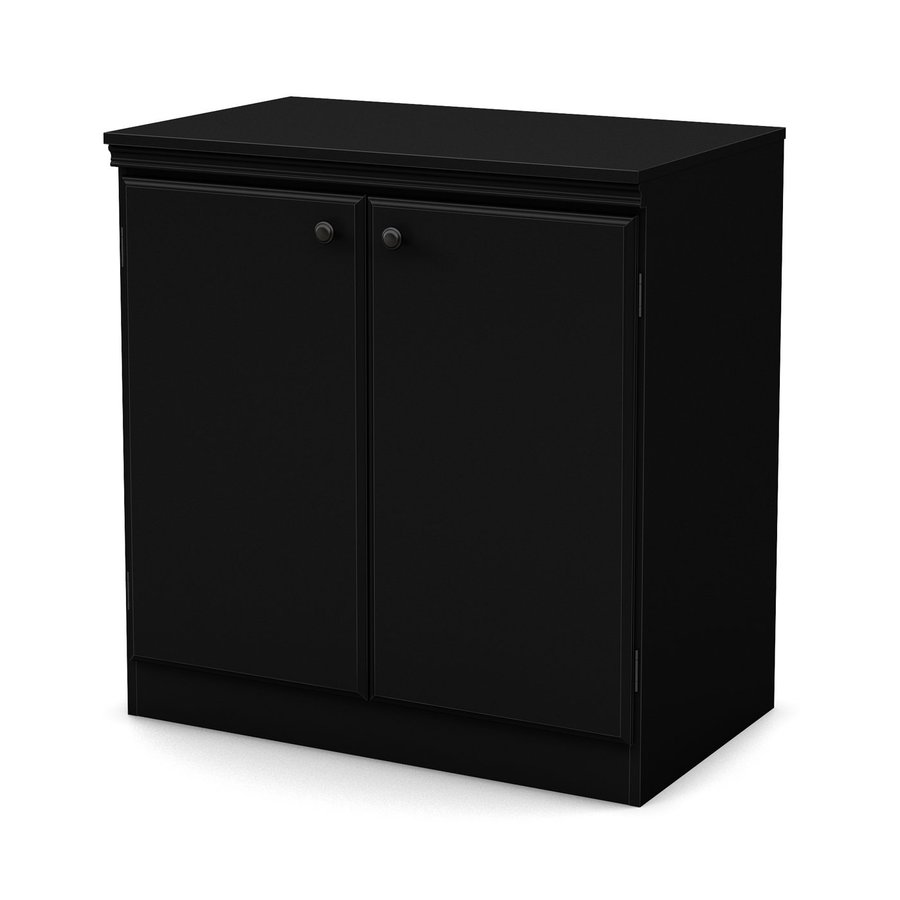 shop south shore furniture morgan pure black 2 shelf office cabinet at