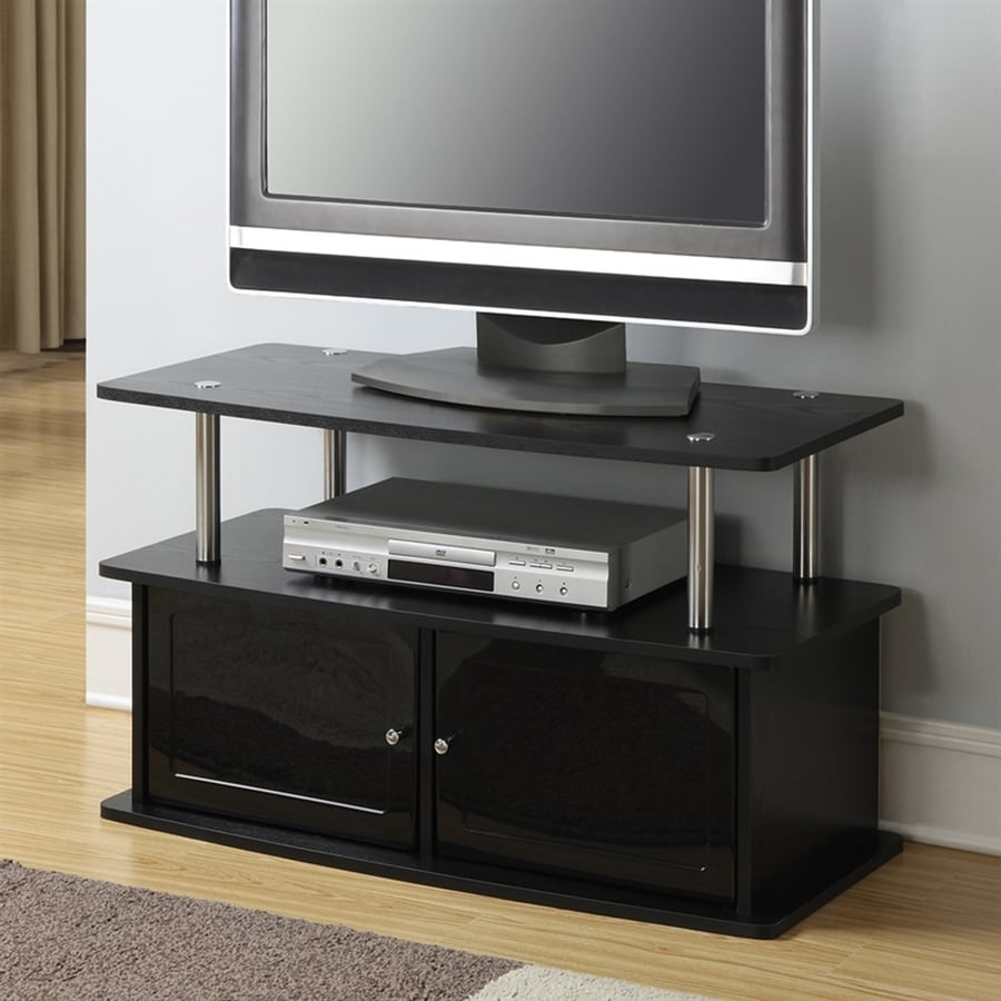 tv stand black shop convenience concepts designs2go black pedestal tv 10885