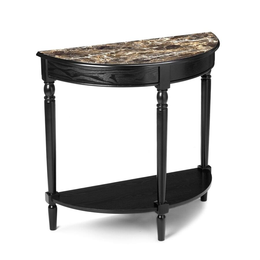 Convenience Concepts French Country Black Half-Round Console and Sofa Table