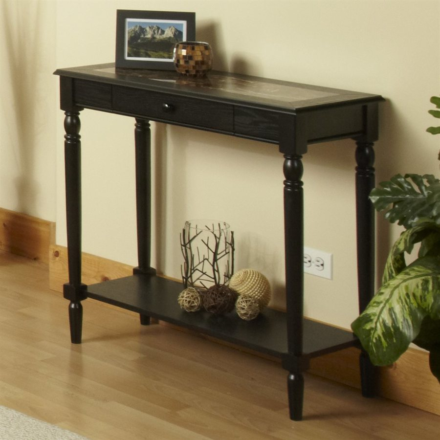 Convenience Concepts French Country Black Rectangular Console and Sofa Table