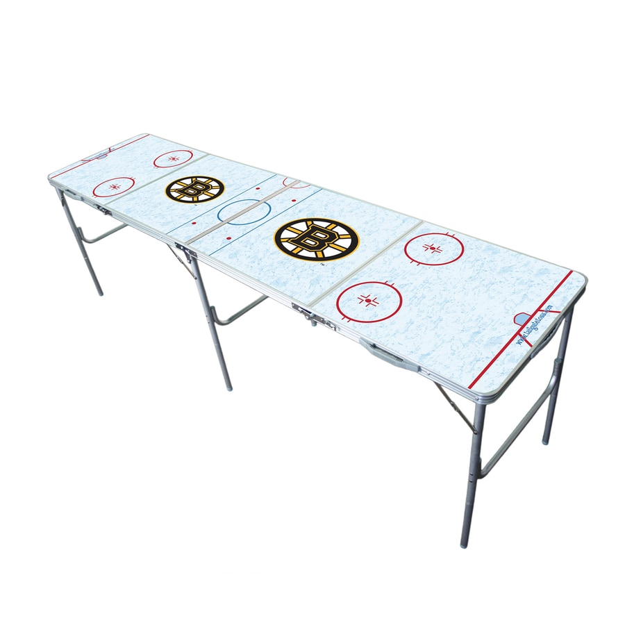Wild Sports 96-in x 24-in Rectangle Extruded Aluminum White Boston Bruins Folding Table
