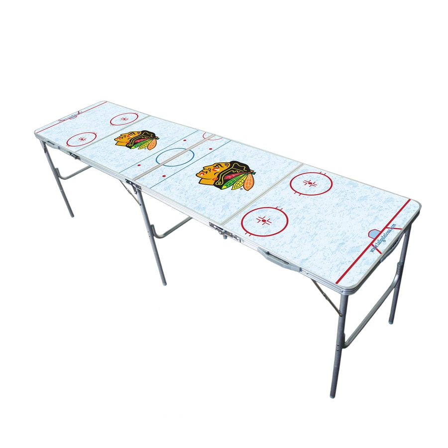 Wild Sports 96-in x 24-in Rectangle Extruded Aluminum White Chicago Blackhawks Folding Table