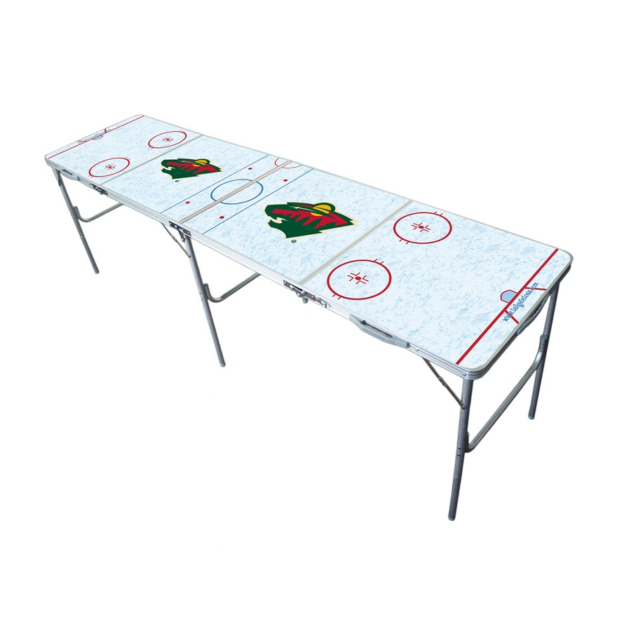 Wild Sports 96-in x 24-in Rectangle Extruded Aluminum White Minnesota Wild Folding Table