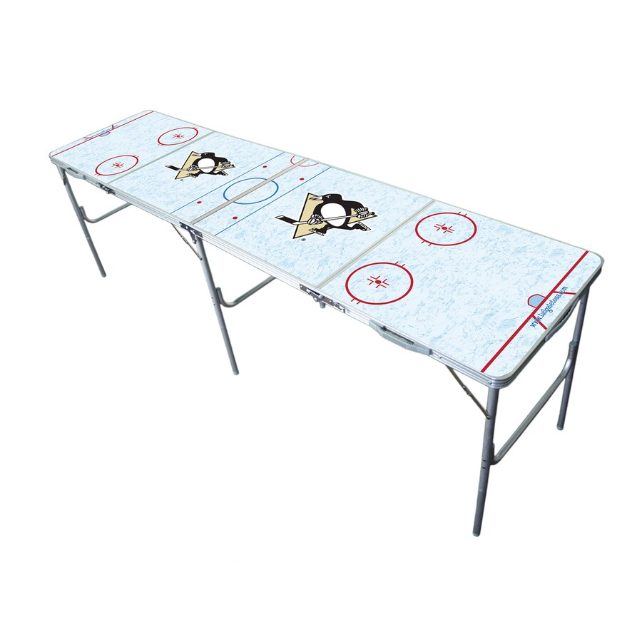 Wild Sports 96-in x 24-in Rectangle Extruded Aluminum White Pittsburgh Penguins Folding Table