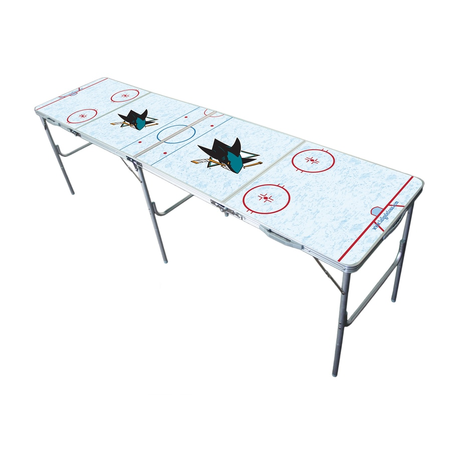 Wild Sports 96-in x 24-in Rectangle Extruded Aluminum White San Jose Sharks Folding Table