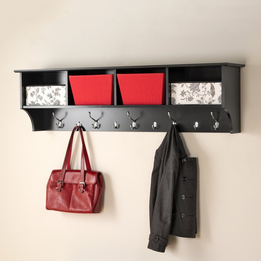 Shop Prepac Black 9 Hook Wall Mounted Coat Rack At Lowes Com