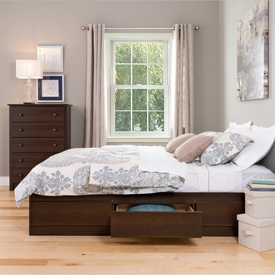 Shop prepac furniture mate 39 s espresso queen platform bed with storage at Queen bedroom sets with underbed storage