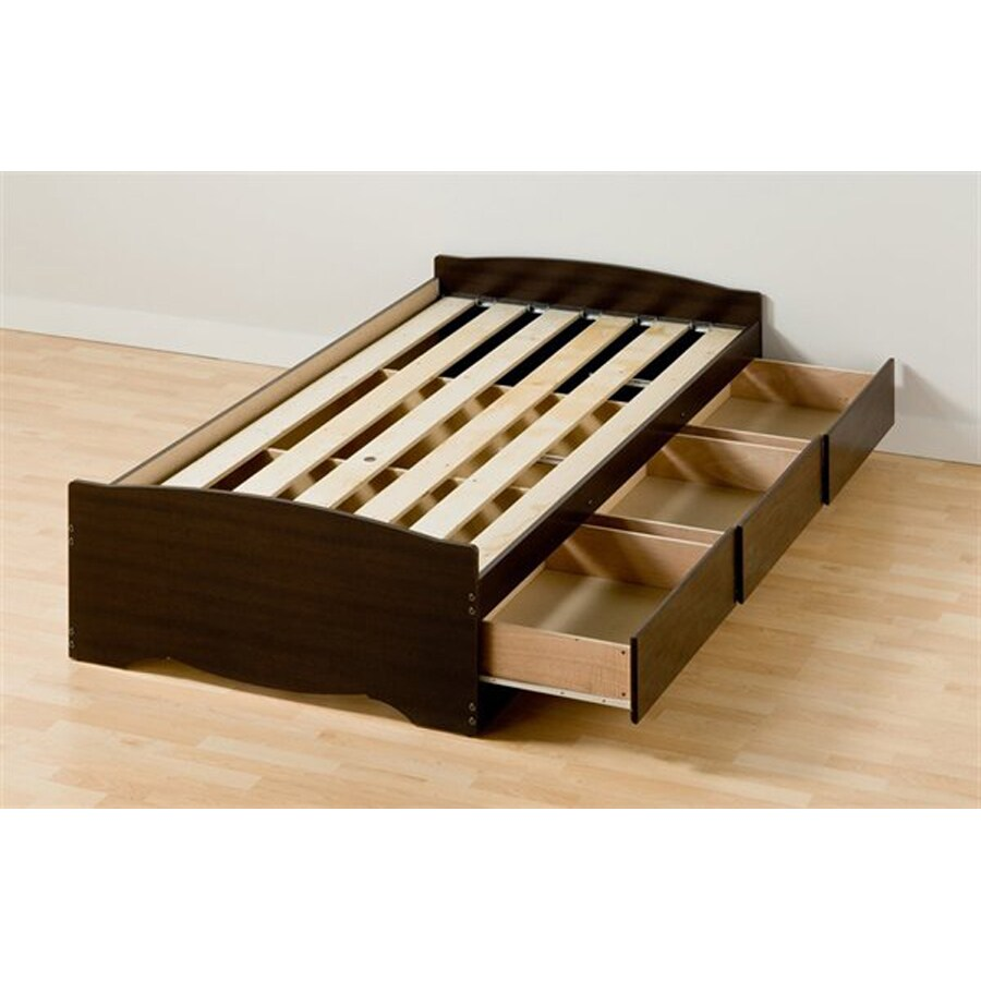 Prepac Furniture Mate S Espresso Twin Extra Long Platform Bed With Storage