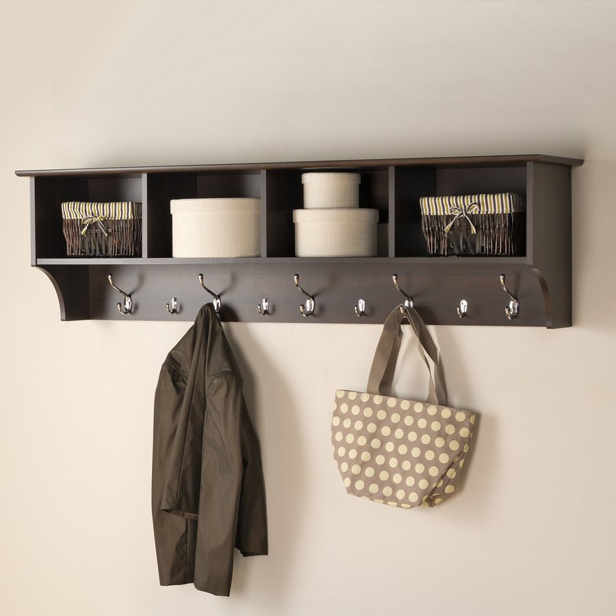 Prepac Espresso 9 Hook Wall Mounted Coat Rack