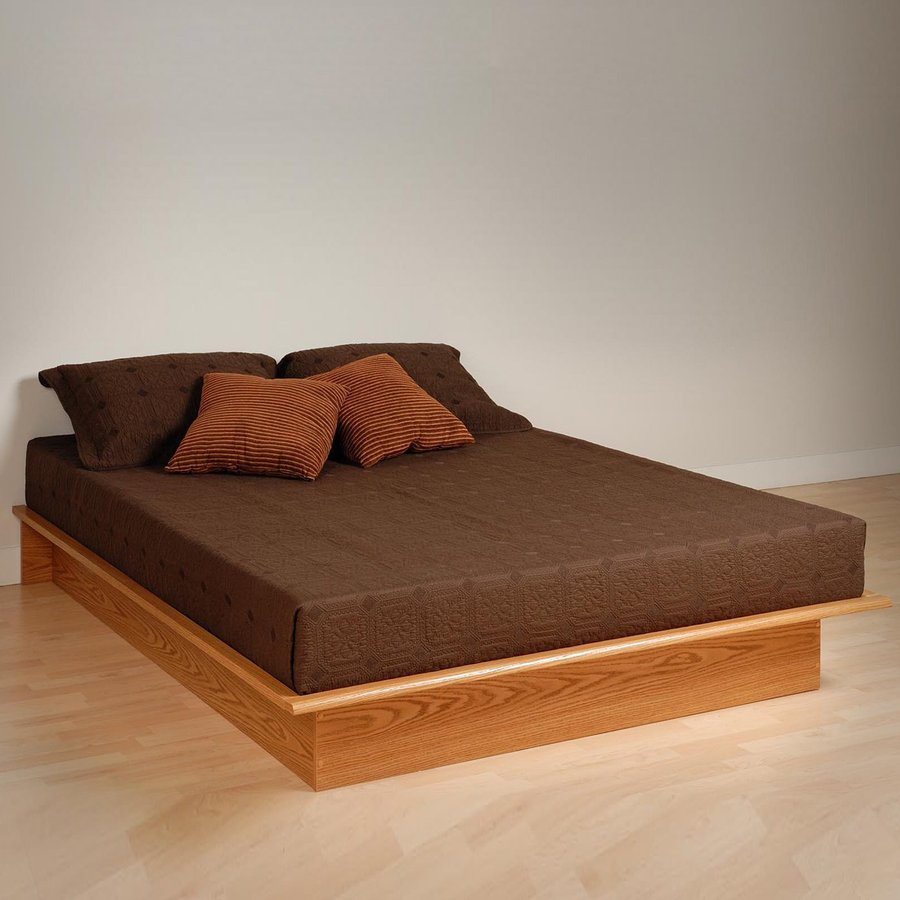 Prepac Furniture Oak Platform Bed with Storage