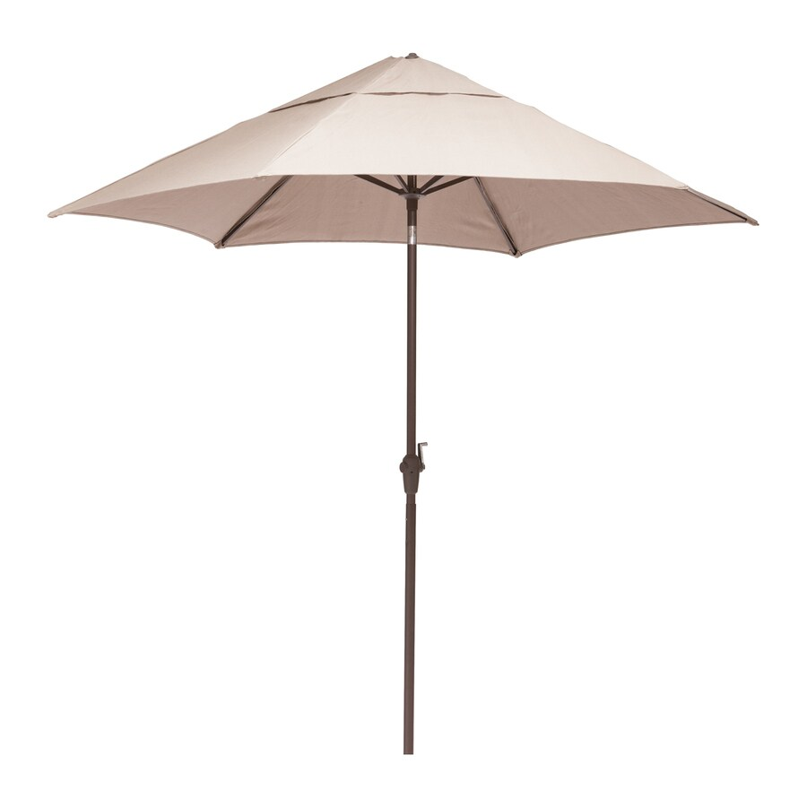 Zuo Modern South Bay Beige Market Patio Umbrella with Base (Common: 7-ft W x 7-ft L; Actual: 7.38-ft W x 7.38-ft L)