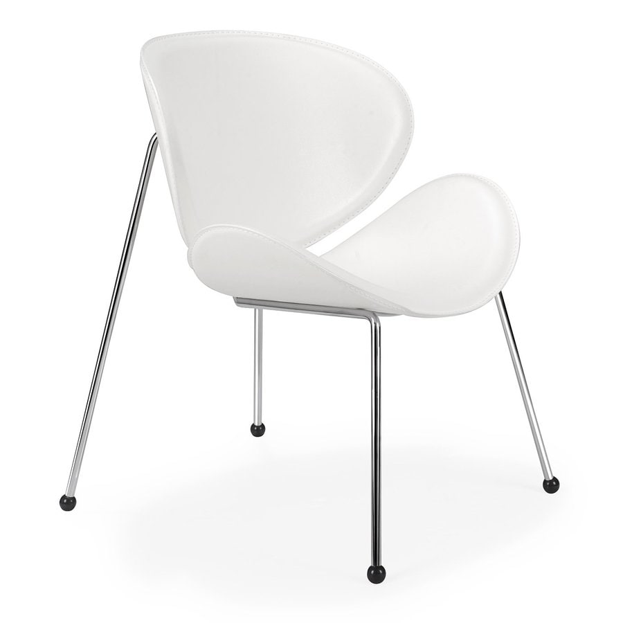Zuo Modern Set of 2 Match White Faux Leather Accent Chair