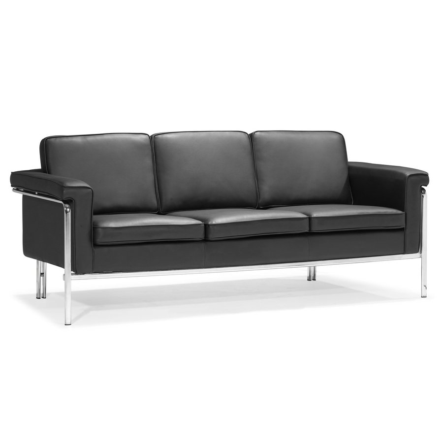 Zuo Modern Singular Black Faux Leather Stationary Sofa