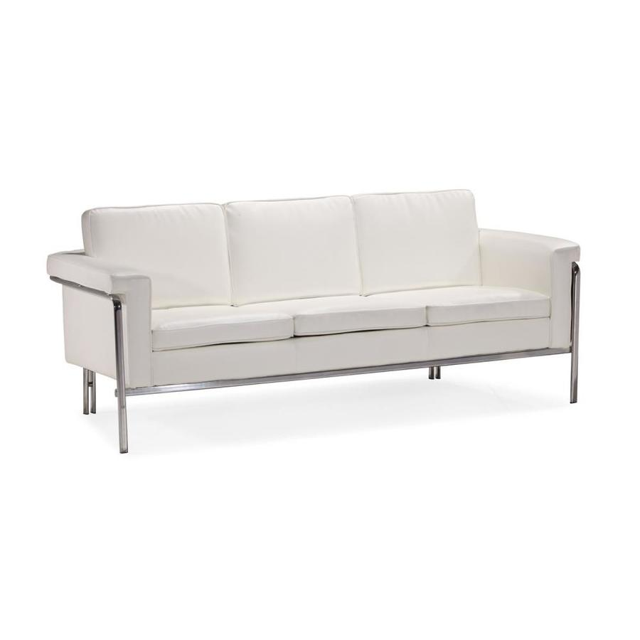Zuo Modern Singular White Faux Leather Stationary Sofa