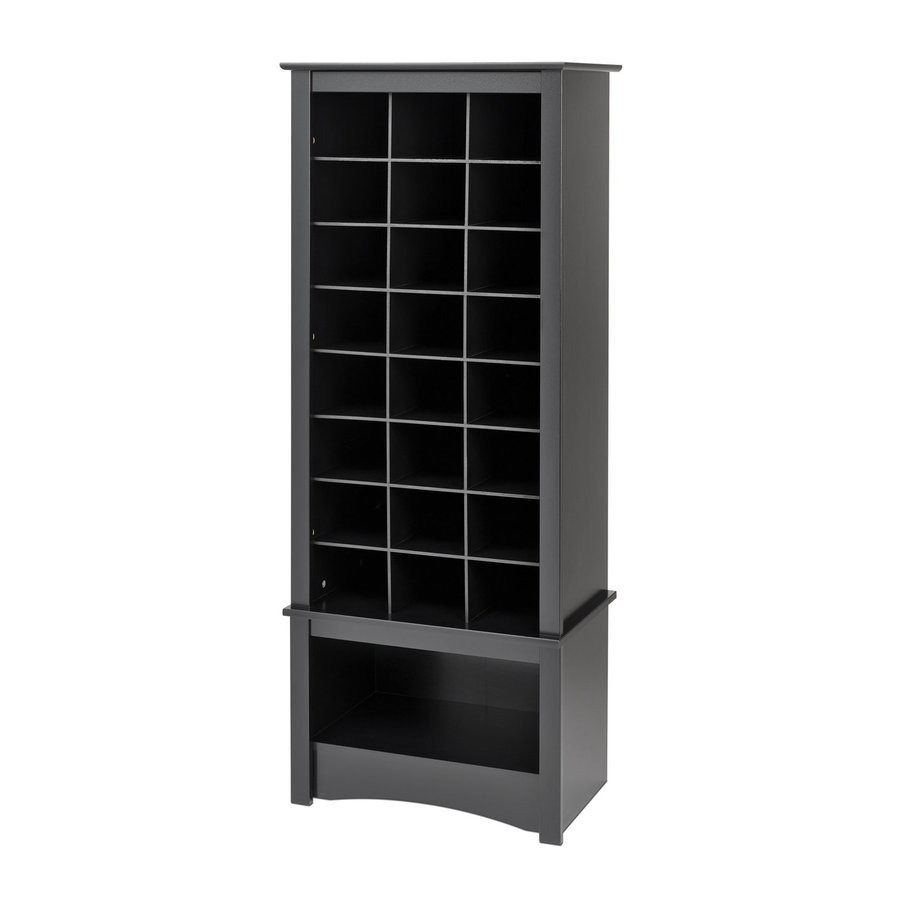 Prepac Furniture 24 Pair Black Wood Shoe Cubbie Cabinet