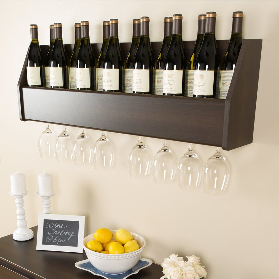 Prepac Furniture 18-Bottle Espresso Wall-Mount Wine Rack with Stemware Holder