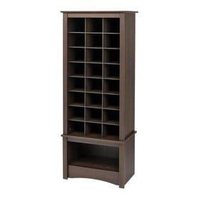 Prepac 24 Pair Espresso Wood Shoe Cubbie Cabinet