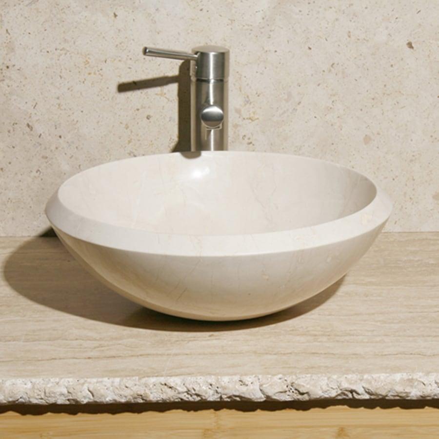 Shop allstone crema marfil stone vessel round bathroom sink at - Vessel sinks at lowes ...