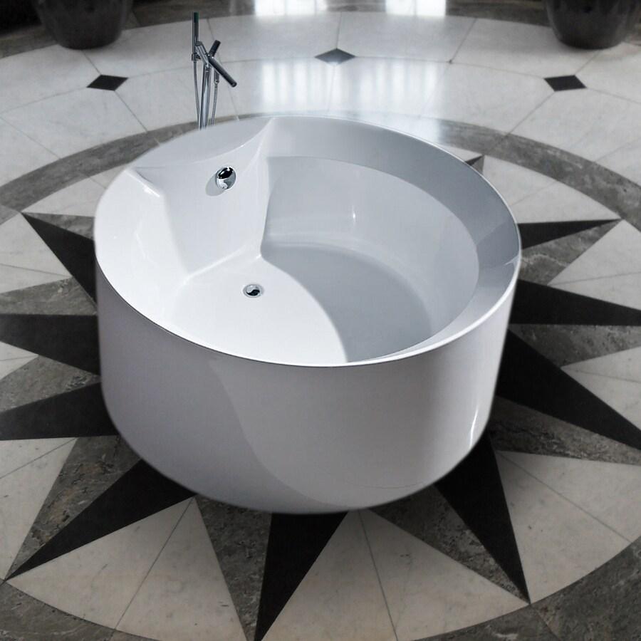 Shop Aquatica Purescape Acrylic High Gloss White Round Freestanding ...